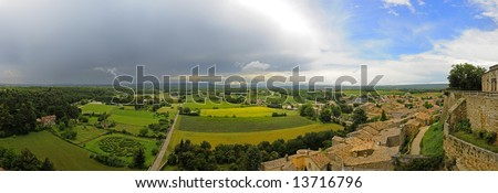 The countryside of the Drome, Provence in France around Grignan, with a cold weather front with a thunderstorm moving in
