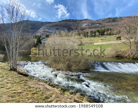 The course of the river Orbe between the cave or spring and the settlement of Vallorbe (der Fluss Orbe or le fleuve de l'Orbe), Vallorbe - Canton of Vaud, Switzerland (Kanton Waadt, Schweiz - Suisse)
