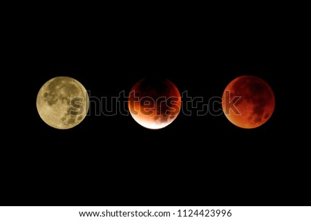 The course of the supermoon lunar eclipse, a collage of three photos.