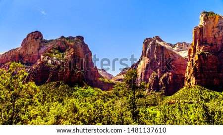 The Court of the Patriarchs, Abraham Peak, Isaac Peak and Jacob Peak, in Zion National Park in Utah, United Sates