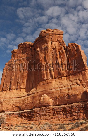 The Courthouse Towers sandstone monuments in Arches National Park near Moab, Utah