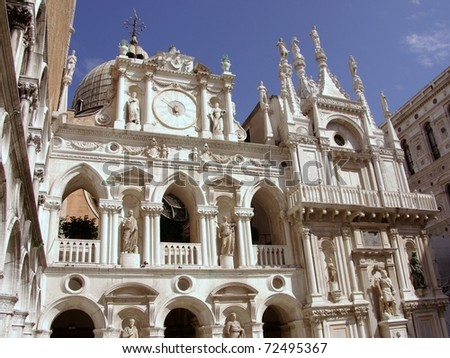 The courtyard of the Doge palace in Venice in Italy