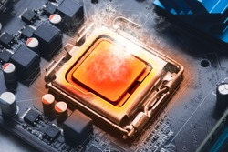 The CPU processor chip overheats and burns in the socket on the computer motherboard
