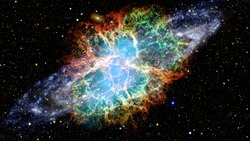 The Crab Nebula is a supernova remnant in the constellation of Taurus. Elements of this image furnished by NASA