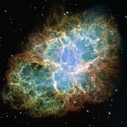 The Crab Nebula or Messier 1 is a supernova remnant in the constellation of Taurus.