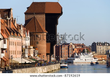The Crane (Polish: Zuraw), a historic landmark in Gdansk (Danzig) Old Town, Poland