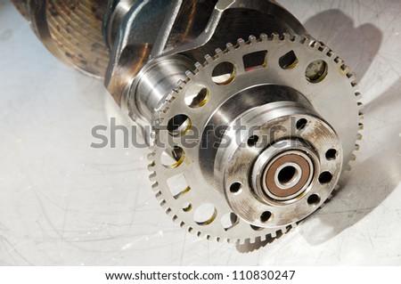 The crankshaft from a sports car engine