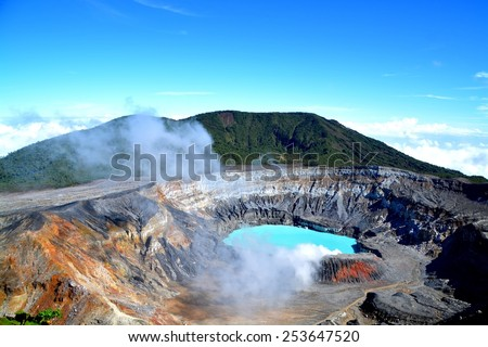 The crater and the lake of the Poas volcano in Costa Rica