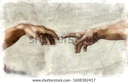 The Creation of Adam. Digital sketch reproduction from a section of Michelangelo's fresco Sistine Chapel ceiling.