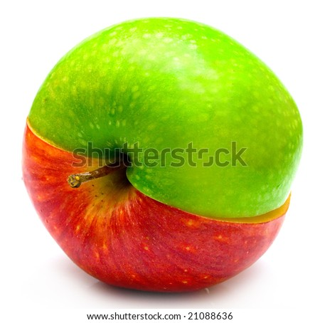 The creative apple combined from two half of red and green color