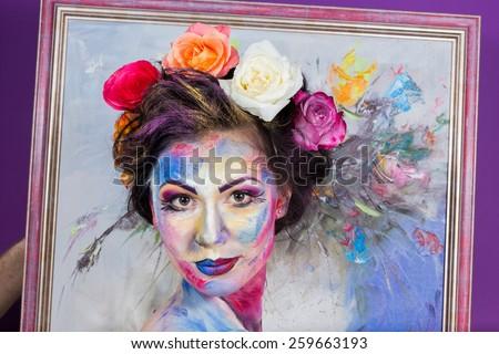 The creative, bright, color makeup. Floral makeup. Art makeup.