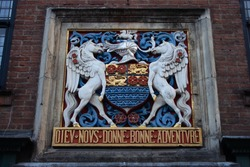 The crest of a medieval guildhall in York.