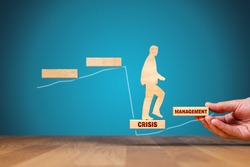 The crisis manager helps company overcome crisis to start new growth. Motivation for growth after crisis concept. Post covid-19 era management helping hand concept.