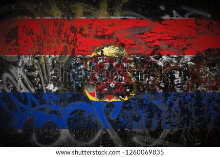 the Croatian Republic of Herzeg Bosnia flag painted on dirty street wall with graffiti texture background. National political symbol street art. #1260069835