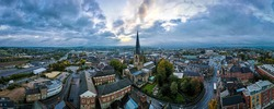 The crooked spire of the Church of St Mary and All Saints in Chesterfield, Derbyshire, UK