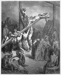 The Cross Is Lifted Up - Picture from The Holy Scriptures, Old and New Testaments books collection published in 1885, Stuttgart-Germany. Drawings by Gustave Dore.