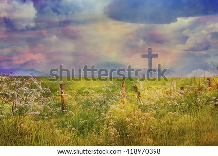 The Cross Of Jesus Christ And Beautiful Clouds Ez Canvas