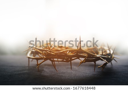 the crown of thorns of Jesus on  black background against  window light with copy space, can be used for Christian background, Easter concept Foto stock ©