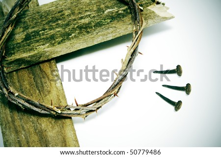 the crown of thorns, the cross and the three nails of Jesus Christ