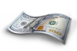 The crumpled denomination hundred dollars on isolated white background with CLIPPING PATH