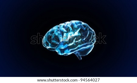 the crystal brain render for medical and biology concept