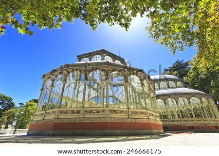 The Crystal Palace (Palacio de Cristal), a glass and metal structure built by Ricardo Velazquez Bosco in 1887 to exhibit flora and fauna from the Philippines on Buen Retiro Park in Madrid, Spain