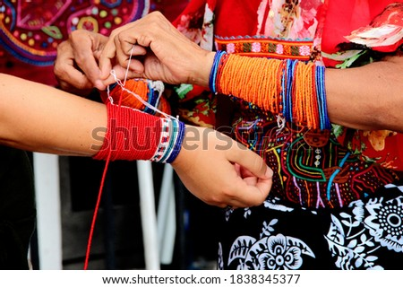 the culture of the Panamanian chaquiras Foto stock ©