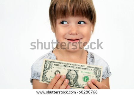 The cunning girl with dollar in hands
