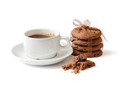 the cup of coffee and chocolate cookies are isolated on the white