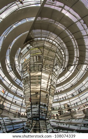The Cupola on top of the Reichstag building in Berlin, Interior view - Germany