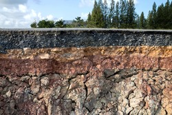 The curb erosion from storms. To indicate the layers of soil and rock.