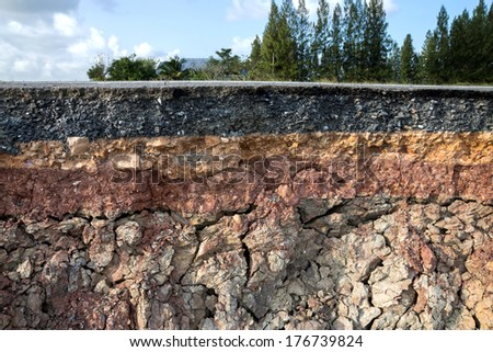 The curb erosion from storms. To indicate the layers of soil and rock. Stock photo ©