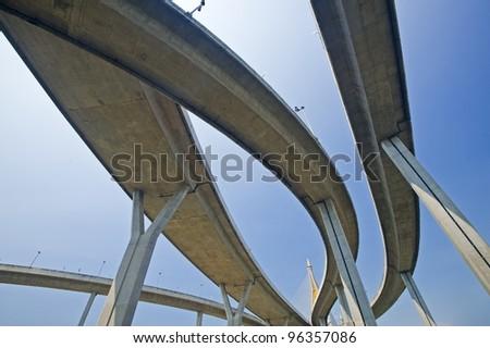 The curve of suspension bridge in Thailand
