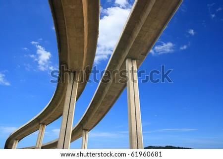 The curve of suspension bridge on blue sky.
