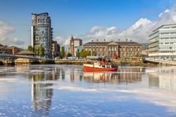The Custom House and Lagan River in Belfast, Northern Ireland