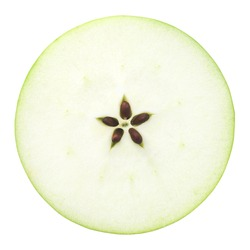 the cut apple in half, slice, isolated on white background, clipping path