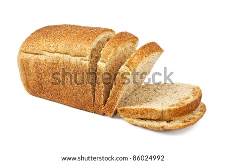 The cut loaf of bread isolated on white