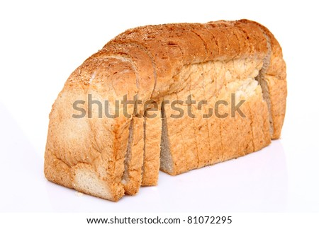 The cut loaf of bread with reflection isolated on white