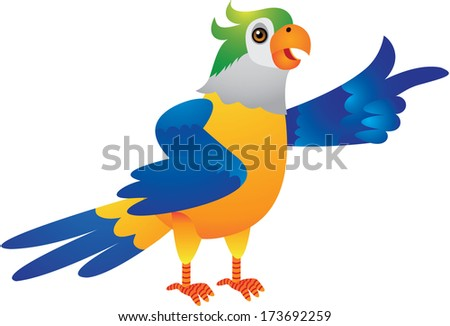 The Cute Blue Yellow Parrot Cartoon Illustration
