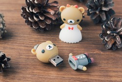 The Cute Couple Bear USB flash drive, bride in a white dress and groom in tuxedo. Creative wooden usb stick like a teddy bear on wooden background