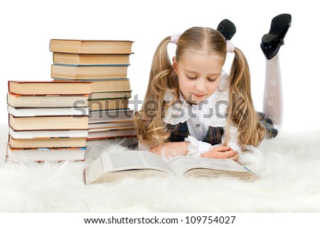 stock photo the cute little teen girl lie read big textbook on white background isolated 109754027 Karen Cliche Actor Karen Cliche attends the premiere of Rogue Pictures' ...