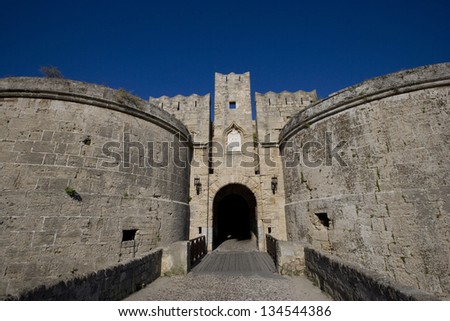 The d�Amboise Gate, below the Palace of the Grand Master, one of the 11 gates to access the old city (medieval town) of Rhodes. Greece