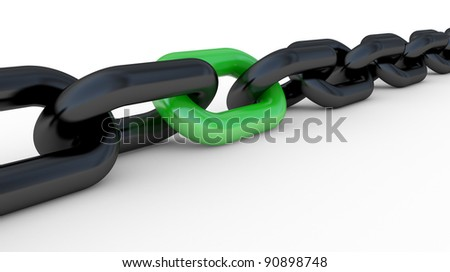 the 3d chain, teamwork connection concept