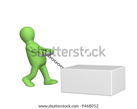 The 3d person -  puppet a pulling heavy box. Objects over white