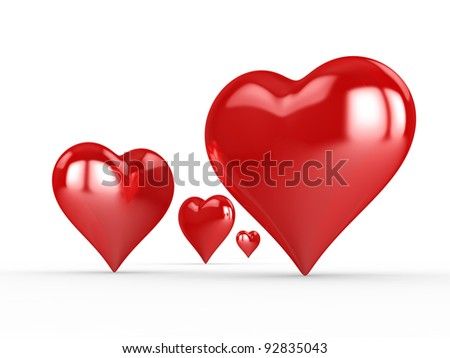 The 3D red shiny heart isolated on white background. This is a detailed 3D rendering (Hi-Res)