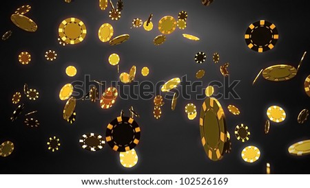 The 3d rendering of difference gold chips