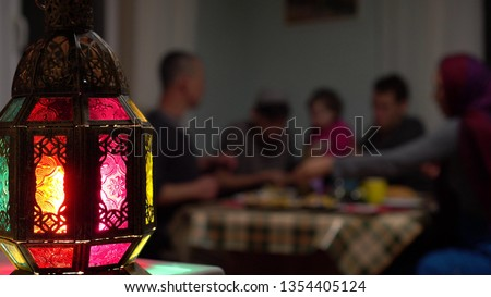 The daily fast during Ramadan begins immediately after the pre-dawn meal of Suhur and continues during the daylight hours, ending with sunset with the evening meal of Iftar