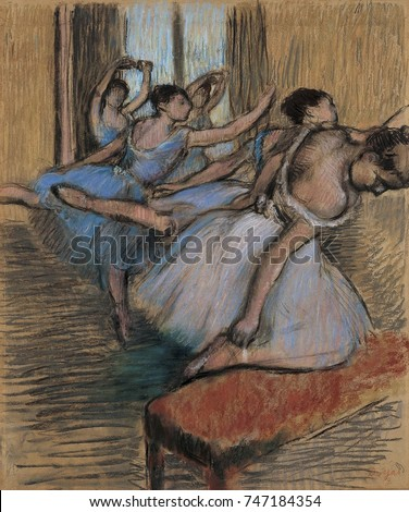 The Dancers, by Edgar Degas, 1900, French impressionist drawing, pastel and charcoal on paper. Degas told art dealer Ambroise Vollard, for me the dance is a pretext for painting pretty costumes and re