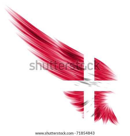 The Danish flag on Abstract wing and white background