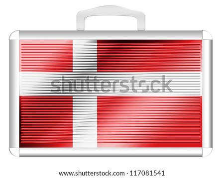The Danish flag painted on metal aluminum case